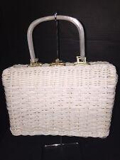 Mister Ernest Simon Vintage Straw Purse, Lucite Frame basket weave handbag