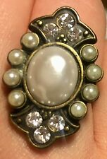 Women's Fashion Statement Gold Gem Pearl Ring Size 6/7 - NEW