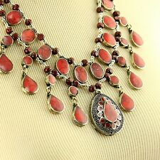 CORAL BellyDance ATS Costume NECKLACE Kuchi Tribal 806c5
