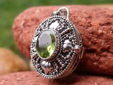 925 SILVER PRAYER BOX PENDANT PERIDOT SILVERANDSOUL HANDCRAFTED JEWELLERY