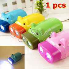 Hand Pressing Power 2 LED Pig Flash Light Flashlight Wind-up Dynamo Torch Lamp O