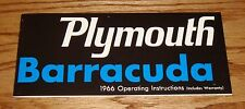 1966 Plymouth Barracuda Owners Operators Manual 66