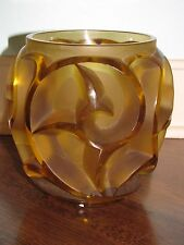 "R LALIQUE ""TOURBILLONS"" Yellow Glass Crystal Vase Signed Rene"