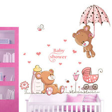 DIY Teddy Bear Flowers Wall Sticker Decals Kids Nursery Baby Decor Mural UKLXL