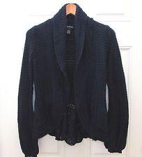 INC International Concepts Navy Blue Cardigan Sweater Crochet Detail Medium