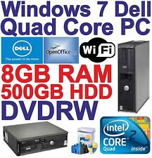 Windows 7, dell QUAD CORE Desktop PC Computer - 8GB RAM-HDD 500 GB-DVDRW Wi-Fi