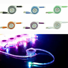 LED Luz Smiley Retráctil Data Cable Cargador Para Iphone 5,6, Ipad 4,air