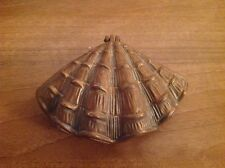 BRASS HINGED CLAM SHELL TRINKET BOX - DISPLAY - PROP - RARE VINTAGE FIND