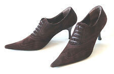 ARMANDO POLLINI / ITALY / BROGUED POINTED BOOTIE IN DARK BROWN / 37 EUR / SUPERB
