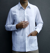 Men's White Mojito Classic Single-Button Cuff Guayabera Shirt Sz XL NWT