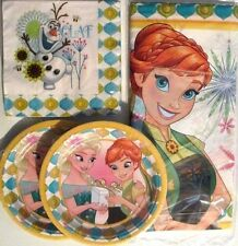 FROZEN FOREVER Disney Birthday Party Supply Kit w/Plates,Napkins & Tablecover