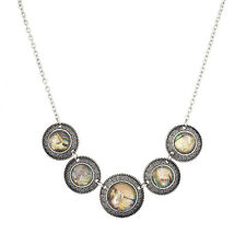 Lux Accessories Etched Tribal Abalone Shell Statement Necklace