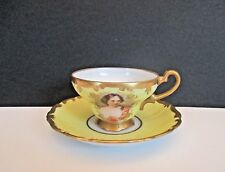 "Royal Vienna Yellow Porcelain Hand Painted ""Portrait"" Cup and Saucer"