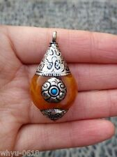 Rare Tibet silver beeswax amber necklace pendant