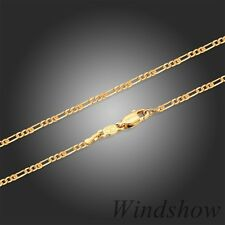 Children Kids 24K Gold Filled Jewellery Flat FIGARO Link Chain Necklace 14""