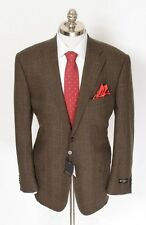 New CORNELIANI Leader Brown Plaid Wool Cashmere 2Btn Coat Jacket 54 7R 44R NWT!