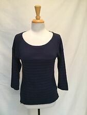 STRAY HEART Long Sleeve Navy/Black Striped Top-Size Small
