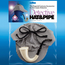 DETECTIVE SHERLOCK HOLMES HAT AND PIPE SET HOUNDS TOOTH STYLE HAT COSTUME KIT