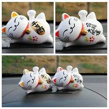 1Pc Lucky Waving Beckoning Fortune Cat Car Decor Solar Powered 4'' Maneki Neko