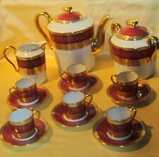 Superbe service à thé café porcelaine Dartigeas Limoges rouge incrustation or