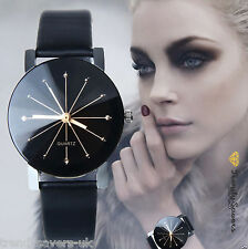 Fashion Women's Leather Stainless Steel Date Dress Quartz Analog Wrist Watch