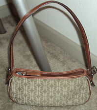 FOSSIL HANDBAG BROWN LEATHER AND JAQUARD BAGUETTE STRAP DROP 9 IN EUC
