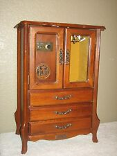"Vintage ELEMICA 17"" Wood Jewelry Music Box Cabinet 3 Drawers & 2 Glass Doors"