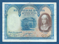 ESPAÑA // SPAIN -- 500 PESETAS ( 1927 ) -- VF -- Nº BAJO : 0071020 -- PICK 73a .