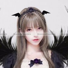 Black Demon Ears Devil Wings Bat Hair Clip Hairs Accessories Girls Halloween