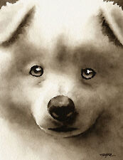 SAMOYED PUPPY Watercolor ART Print Signed by Artist DJR