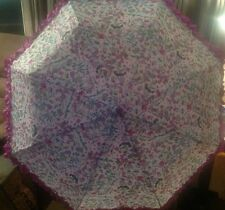 NWT BETSEY JOHNSON Printed Umbrella with Purple Ruffle Trim Auto Open 42""