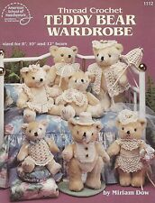 Thread Crochet Teddy Bear Wardrobe, Pattern Booklet ASN 1112 Bride Groom & More