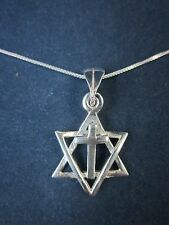 "Messianic Sterling Silver Star of David Cross Pendant Necklace 925 18"" Box Chain"