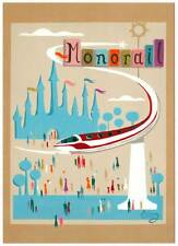 DISNEYLAND Frameable Art Postcard Tomorrowland MONORAIL