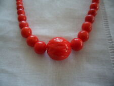 VINTAGE RED GRADUATED CZECH GLASS BEAD NECKLACE