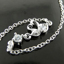 FSA553 GENUINE 925 STERLING SILVER S/F SIMULATED DIAMOND SWAN BRACELET ANKLET