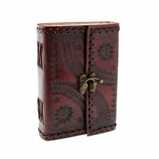 Leather Diary clasp lock Small recycled embossed Fair trade Handmade organiser