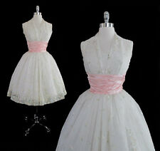 Vintage 50's Sheer White Organdy Pink Satin Roses Wedding Formal Party Dress XS