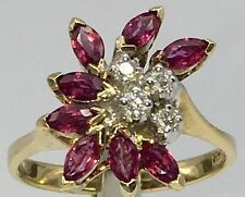 VINTAGE LADIES 14K YELLOW GOLD RED TOPAZ AND DIAMOND CLUSTER RING 3.8g Sz 5.5