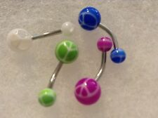 set of 4 peace sign ball Belly Navel Ring rings lot NEW