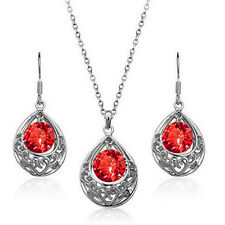 Silver & Red Hollow Teardrop Jewellery Set Drop Earrings & Necklace S496