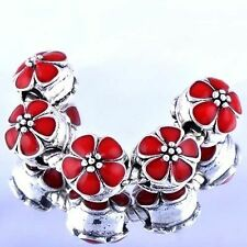 5pcs Silver metal loose beads crystal for bracelet european red beads lot