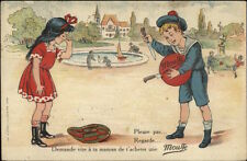 MOUSSE French Children's Toy Ball Adv Sad Girl's Popped c1920 Postcard