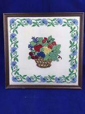 vintage floral and fruit basket tufted stitch framed embroidery on linen