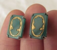Vtg Sterling Silver Gold Painted Cameo Carved Green Glass Screw Back Earrings