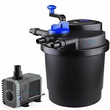 1600 Gal Pressure Pond Filter w/ 13W UV Sterilizer Koi Fish+ 1600GPH Water Pump