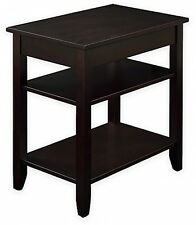 3-Tier Accent End Table with USB Power Ports Side Coffee Shelves Hidden Storage