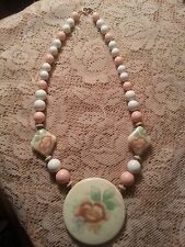 VINTAGE JAPAN PINK & WHITE BEAD NECKLACE W/ PORCELAIN PENDANT GOLD TONE SPACERS