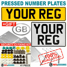 SQUARE 11x8 & OBLONG PRESSED METAL EMBOSSED CAR 4x4 REG NUMBER PLATES 100% Legal