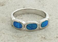 BEAUTIFUL .925 STERLING SILVER OPAL BAND RING size 8  style# r1723